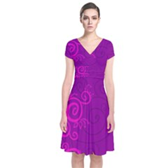 Floraly Swirlish Purple Color Short Sleeve Front Wrap Dress