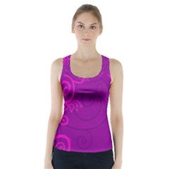 Floraly Swirlish Purple Color Racer Back Sports Top