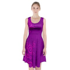 Floraly Swirlish Purple Color Racerback Midi Dress