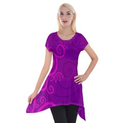 Floraly Swirlish Purple Color Short Sleeve Side Drop Tunic