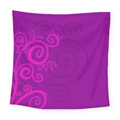 Floraly Swirlish Purple Color Square Tapestry (large)