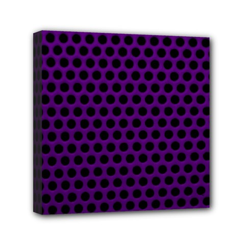 Dark Purple Metal Mesh With Round Holes Texture Mini Canvas 6  X 6