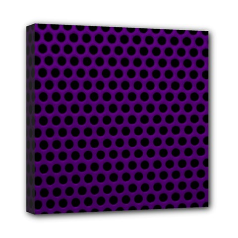 Dark Purple Metal Mesh With Round Holes Texture Mini Canvas 8  X 8