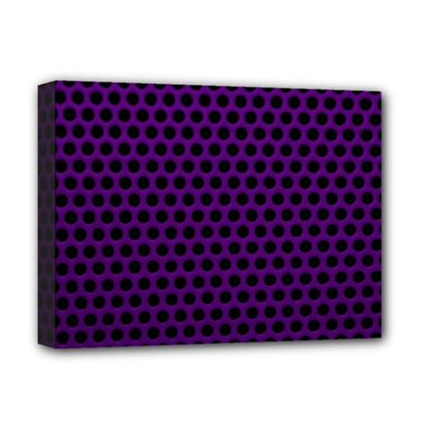 Dark Purple Metal Mesh With Round Holes Texture Deluxe Canvas 16  X 12