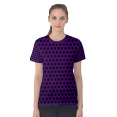 Dark Purple Metal Mesh With Round Holes Texture Women s Cotton Tee