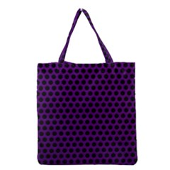 Dark Purple Metal Mesh With Round Holes Texture Grocery Tote Bag