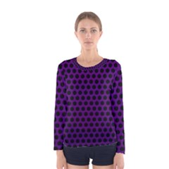 Dark Purple Metal Mesh With Round Holes Texture Women s Long Sleeve Tee
