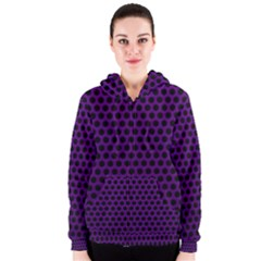 Dark Purple Metal Mesh With Round Holes Texture Women s Zipper Hoodie