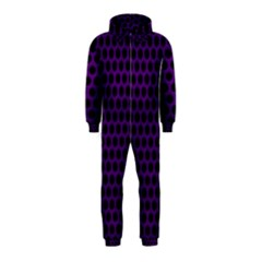 Dark Purple Metal Mesh With Round Holes Texture Hooded Jumpsuit (kids)