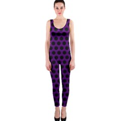 Dark Purple Metal Mesh With Round Holes Texture Onepiece Catsuit