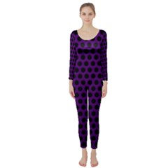 Dark Purple Metal Mesh With Round Holes Texture Long Sleeve Catsuit