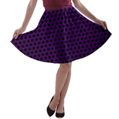 Dark Purple Metal Mesh With Round Holes Texture A Line Skater Skirt