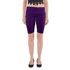 Dark Purple Metal Mesh With Round Holes Texture Yoga Cropped Leggings