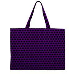 Dark Purple Metal Mesh With Round Holes Texture Large Tote Bag