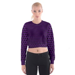 Dark Purple Metal Mesh With Round Holes Texture Women s Cropped Sweatshirt