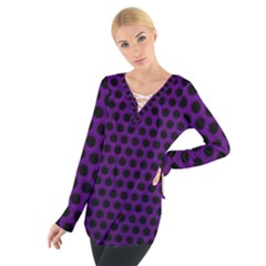 Dark Purple Metal Mesh With Round Holes Texture Women s Tie Up Tee