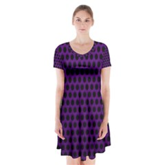 Dark Purple Metal Mesh With Round Holes Texture Short Sleeve V-neck Flare Dress
