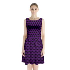 Dark Purple Metal Mesh With Round Holes Texture Sleeveless Chiffon Waist Tie Dress