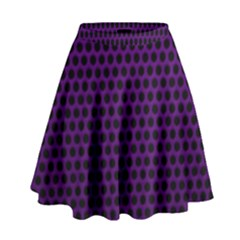 Dark Purple Metal Mesh With Round Holes Texture High Waist Skirt