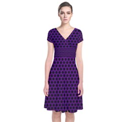 Dark Purple Metal Mesh With Round Holes Texture Short Sleeve Front Wrap Dress