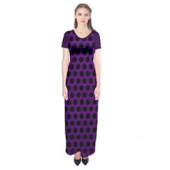 Dark Purple Metal Mesh With Round Holes Texture Short Sleeve Maxi Dress