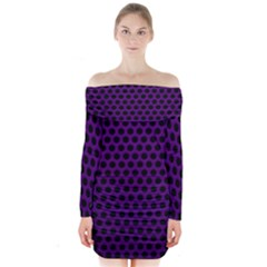 Dark Purple Metal Mesh With Round Holes Texture Long Sleeve Off Shoulder Dress