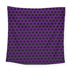 Dark Purple Metal Mesh With Round Holes Texture Square Tapestry (large)