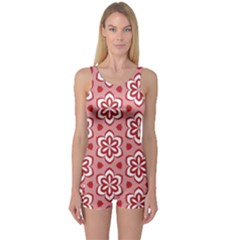 Floral Abstract Pattern One Piece Boyleg Swimsuit