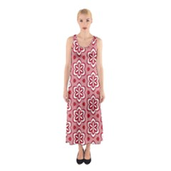 Floral Abstract Pattern Sleeveless Maxi Dress