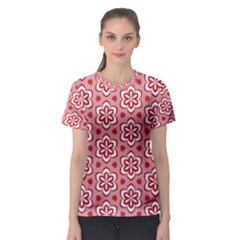 Floral Abstract Pattern Women s Sport Mesh Tee