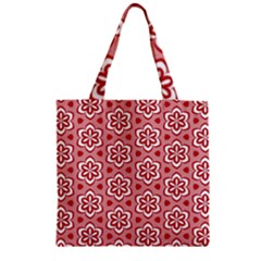 Floral Abstract Pattern Zipper Grocery Tote Bag