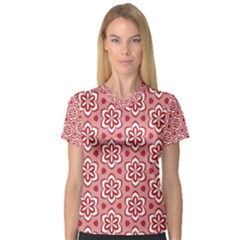 Floral Abstract Pattern Women s V-Neck Sport Mesh Tee