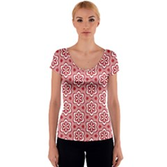 Floral Abstract Pattern Women s V-Neck Cap Sleeve Top