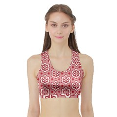 Floral Abstract Pattern Sports Bra With Border