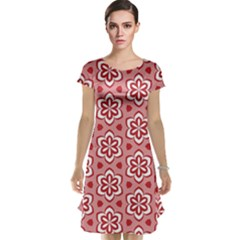 Floral Abstract Pattern Cap Sleeve Nightdress