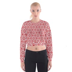 Floral Abstract Pattern Women s Cropped Sweatshirt