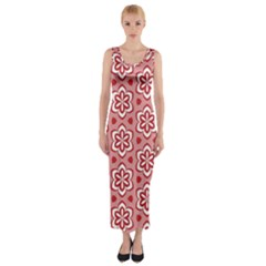 Floral Abstract Pattern Fitted Maxi Dress