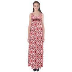 Floral Abstract Pattern Empire Waist Maxi Dress