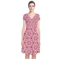 Floral Abstract Pattern Short Sleeve Front Wrap Dress