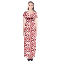 Floral Abstract Pattern Short Sleeve Maxi Dress