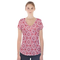 Floral Abstract Pattern Short Sleeve Front Detail Top