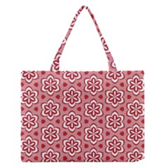 Floral Abstract Pattern Medium Zipper Tote Bag