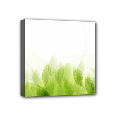 Green Leaves Pattern Mini Canvas 4  X 4