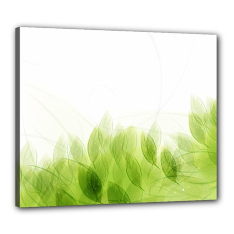 Green Leaves Pattern Canvas 24  X 20