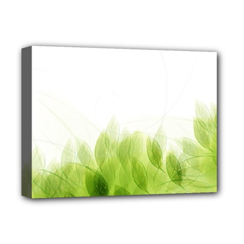 Green Leaves Pattern Deluxe Canvas 16  X 12