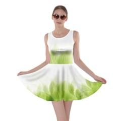 Green Leaves Pattern Skater Dress