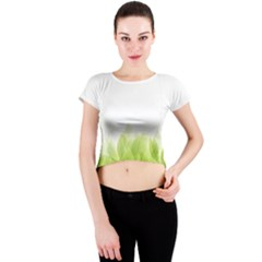 Green Leaves Pattern Crew Neck Crop Top