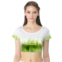 Green Leaves Pattern Short Sleeve Crop Top (tight Fit)