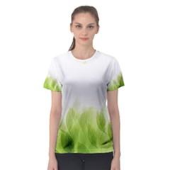 Green Leaves Pattern Women s Sport Mesh Tee