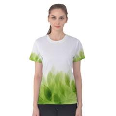Green Leaves Pattern Women s Cotton Tee